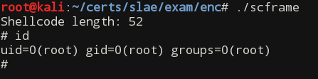 Working encoded shellcode