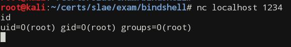 Bind TCP shell shellcode successful test