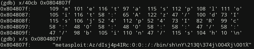 Checking string data in gdb