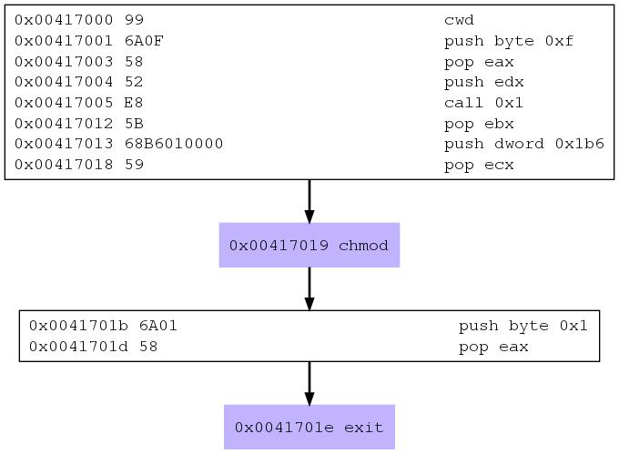 Chmod shellcode call graph