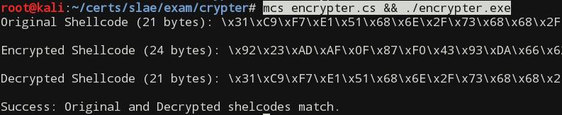 Running shellcode encrypter